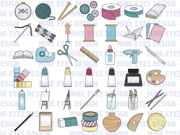 Print on Demand: Arts and Crafts Mega Pack Graphic Icons By Mine Eyes Design - Image 2