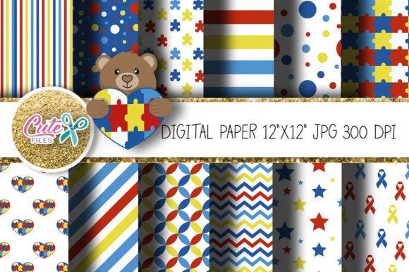 Autism Digital Paper for Scrapbooking Graphic Textures By Cute files - Image 1