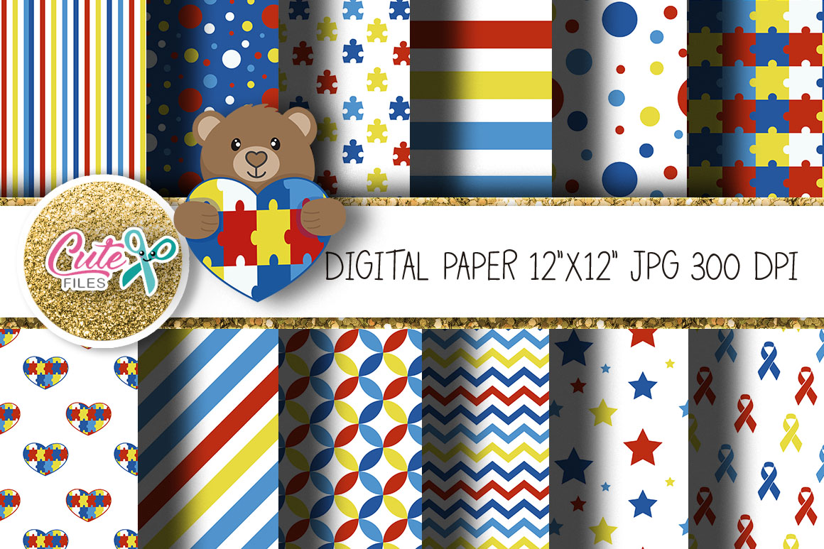 Download Free Autism Digital Paper For Scrapbooking Graphic By Cute Files for Cricut Explore, Silhouette and other cutting machines.
