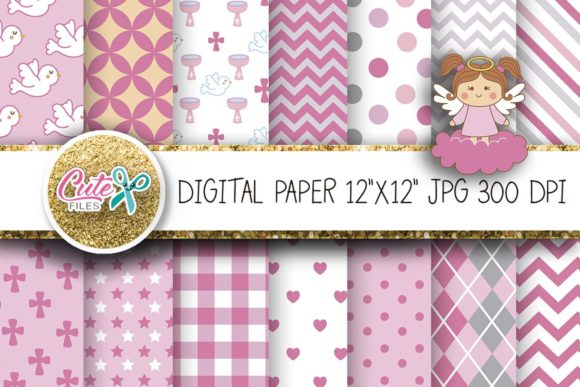 Baptism Digital Paper Pink Angel Graphic Textures By Cute files