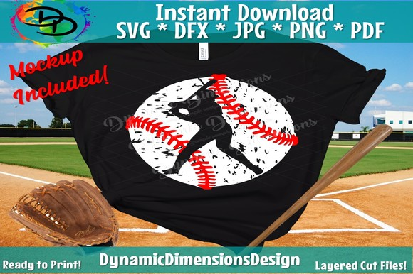 Download Free Baseball Grunge Baseball Graphic By Dynamicdimensions Creative for Cricut Explore, Silhouette and other cutting machines.