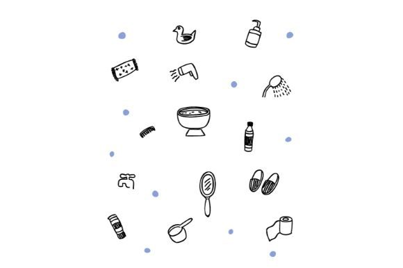 Download Free Bathroom Doodle Vector Art Graphic By Firdausm601 Creative Fabrica for Cricut Explore, Silhouette and other cutting machines.