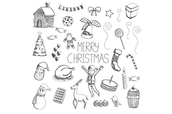 Black and White Merry Christmas Doodles