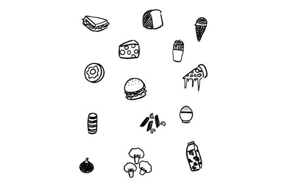 Download Free Black And White Foods Doodle Art Graphic By Firdausm601 for Cricut Explore, Silhouette and other cutting machines.