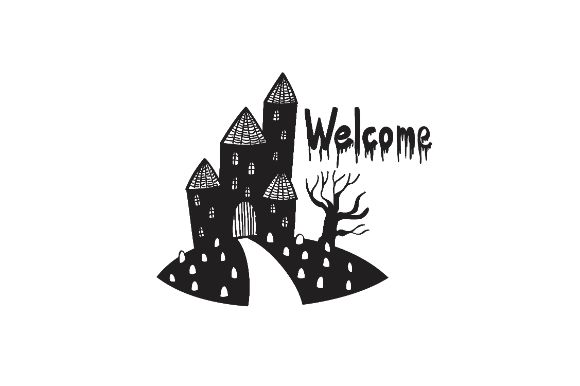 Download Free Black And White Haunted House Graphic By Firdausm601 Creative for Cricut Explore, Silhouette and other cutting machines.