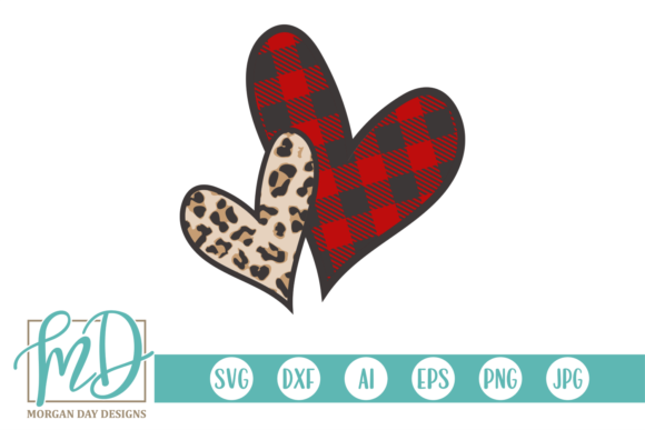 Print on Demand: Buffalo Plaid Leopard Valentine Heart Graphic Crafts By Morgan Day Designs