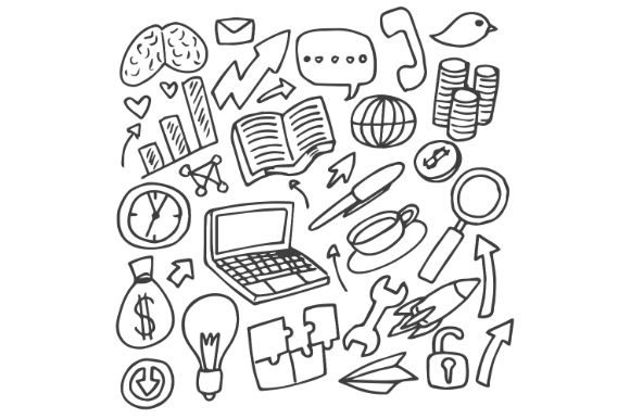 Download Free Business Idea Doodle Drawing Art Black Graphic By Firdausm601 for Cricut Explore, Silhouette and other cutting machines.