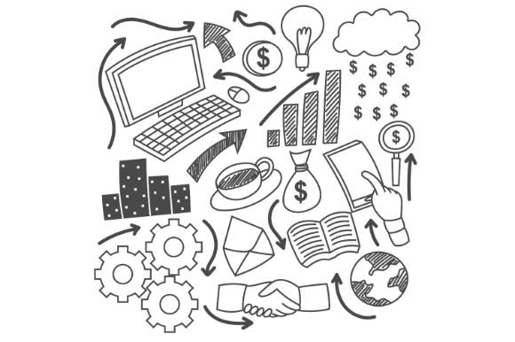 Download Free Business Idea Doodles Icons Set Black A Graphic By Firdausm601 for Cricut Explore, Silhouette and other cutting machines.