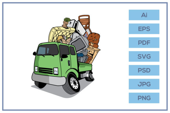 Download Free Cartoon Pickup Truck Loaded House Junk Graphic By Leamsign for Cricut Explore, Silhouette and other cutting machines.
