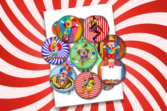 Circus Clowns Digital Collage Sheets 2x Graphic Crafts By denysdigitalshop