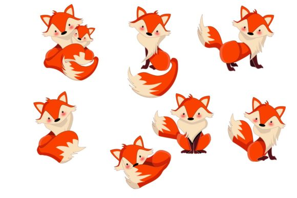 Download Free Cute Foxes Bundle Clipart Graphic Graphic By Sintegra Creative for Cricut Explore, Silhouette and other cutting machines.