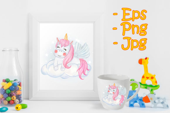 Print on Demand: Cute Unicorns Sitting on the Clouds Graphic Illustrations By OrchidArt