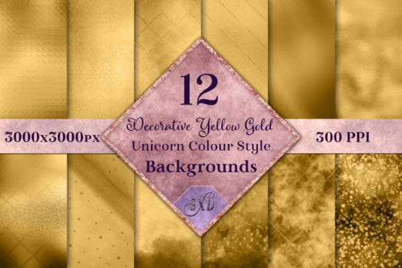 Print on Demand: Decorative Yellow Gold Backgrounds Graphic Backgrounds By SapphireXDesigns