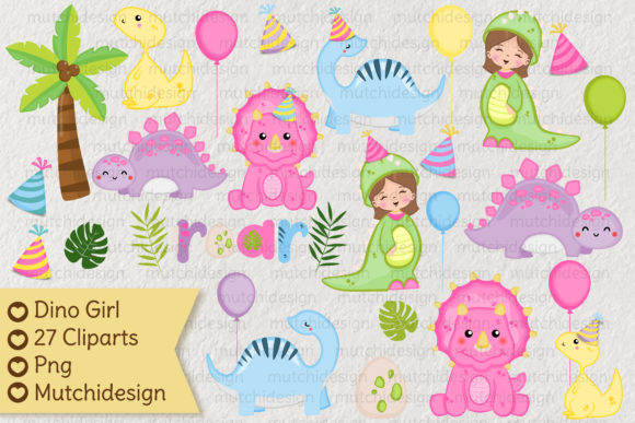 Print on Demand: Dino Girl Cliparts Graphic Illustrations By Mutchi Design