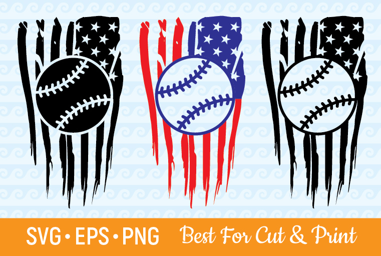Download Free Distressed American Flag Baseball Graphic By Olimpdesign for Cricut Explore, Silhouette and other cutting machines.