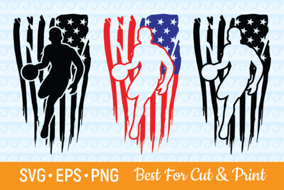 Download Free Distressed American Flag Basketball Graphic By Olimpdesign for Cricut Explore, Silhouette and other cutting machines.