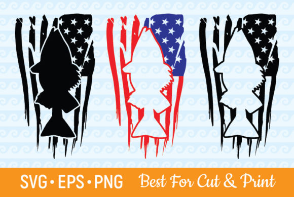 Download Free Distressed American Flag Fish Graphic By Olimpdesign Creative for Cricut Explore, Silhouette and other cutting machines.