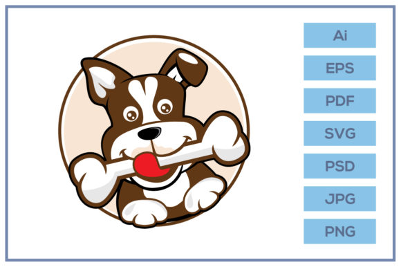 Print on Demand: Dog Puppy Holding Bone Cartoon Design Graphic Icons By leamsign