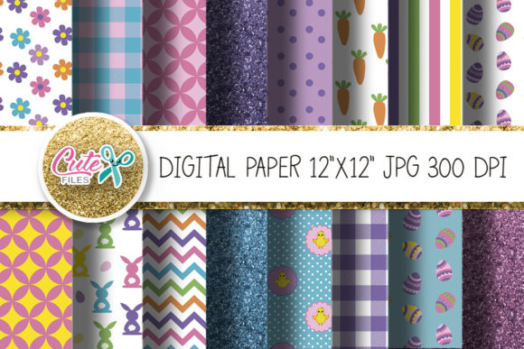 Easter Digital Paper for Crafters Graphic Textures By Cute files