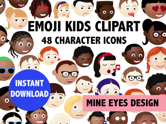 Emoji Kids Characters Graphic Icons By Mine Eyes Design - Image 1