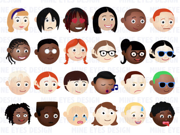Emoji Kids Characters Graphic Icons By Mine Eyes Design - Image 2