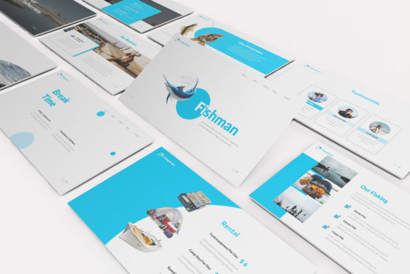 Download Free Fishing Powerpoint Template Graphic By Formatikastd Creative for Cricut Explore, Silhouette and other cutting machines.