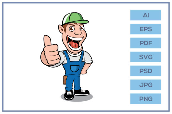 Print on Demand: Funny Worker Giving Thumbs Up Cartoon Graphic Icons By leamsign