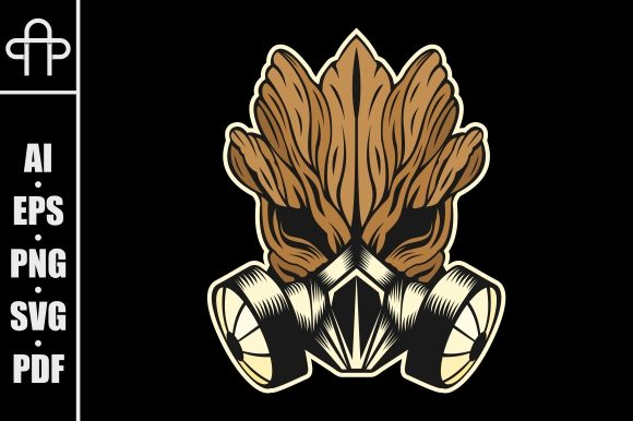 Download Free Gas Mask Monster Wood Graphic By Andypp Creative Fabrica for Cricut Explore, Silhouette and other cutting machines.