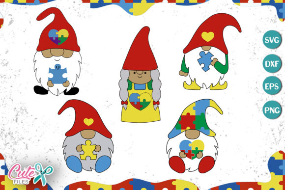 Gnome with Puzzle Piece Set Graphic Illustrations By Cute files