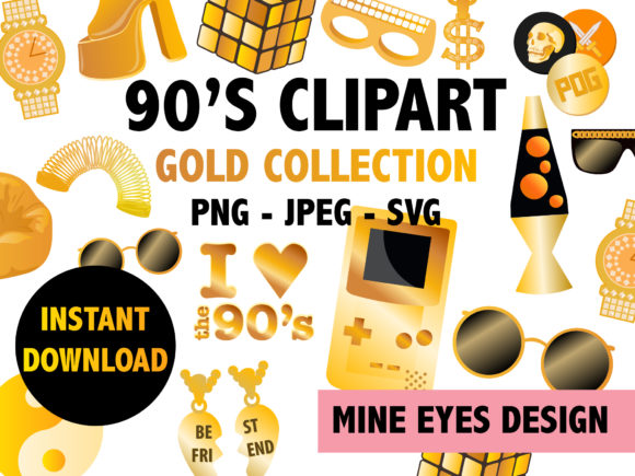 Print on Demand: Gold 90's Clipart Icons Graphic Illustrations By Mine Eyes Design