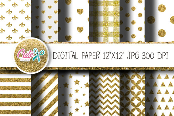 Gold Glitter and White Digital Paper Graphic Textures By Cute files