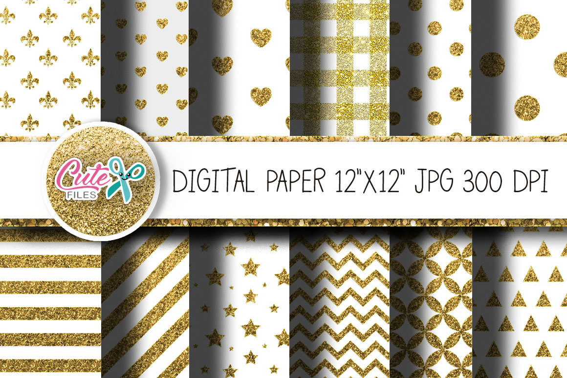 Download Free Gold Glitter And White Digital Paper Graphic By Cute Files for Cricut Explore, Silhouette and other cutting machines.