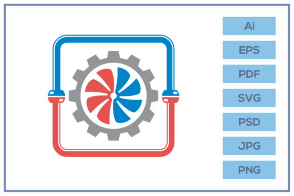 Print on Demand: HVAC Plumbing Cooling and Heating Design Graphic Icons By leamsign