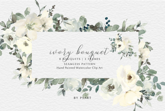 Download Free Ivory Watercolor Bouquets Frames Pattern Graphic By Patishop Art SVG Cut Files