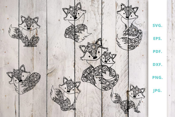 Print on Demand: Mandala Cute Fox Cut File Bundle Graphic Crafts By Sintegra
