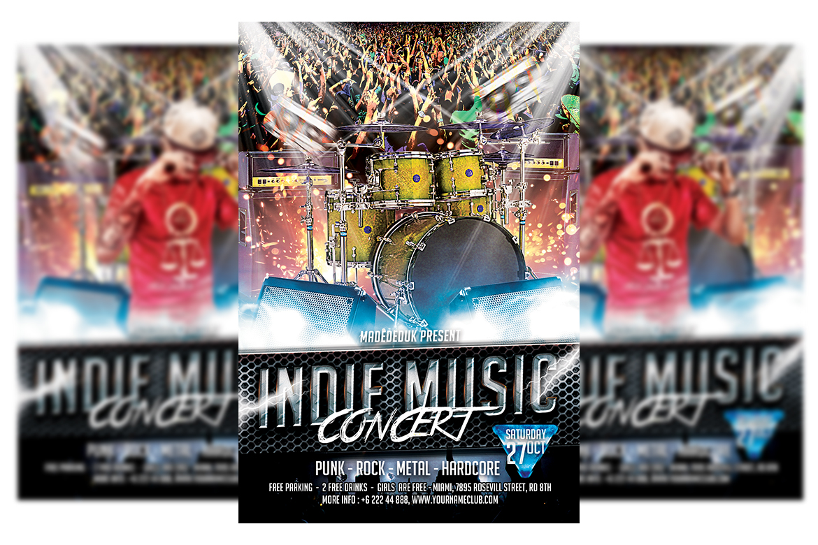 Download Free Music Concert Flyer Template Graphic By Matthew Design for Cricut Explore, Silhouette and other cutting machines.