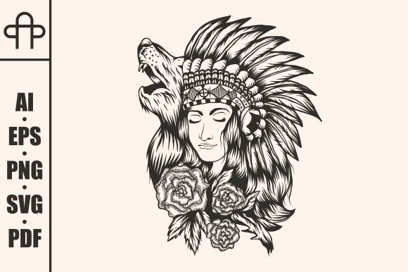 Download Free Native American Girl Wolf Graphic By Andypp Creative Fabrica for Cricut Explore, Silhouette and other cutting machines.