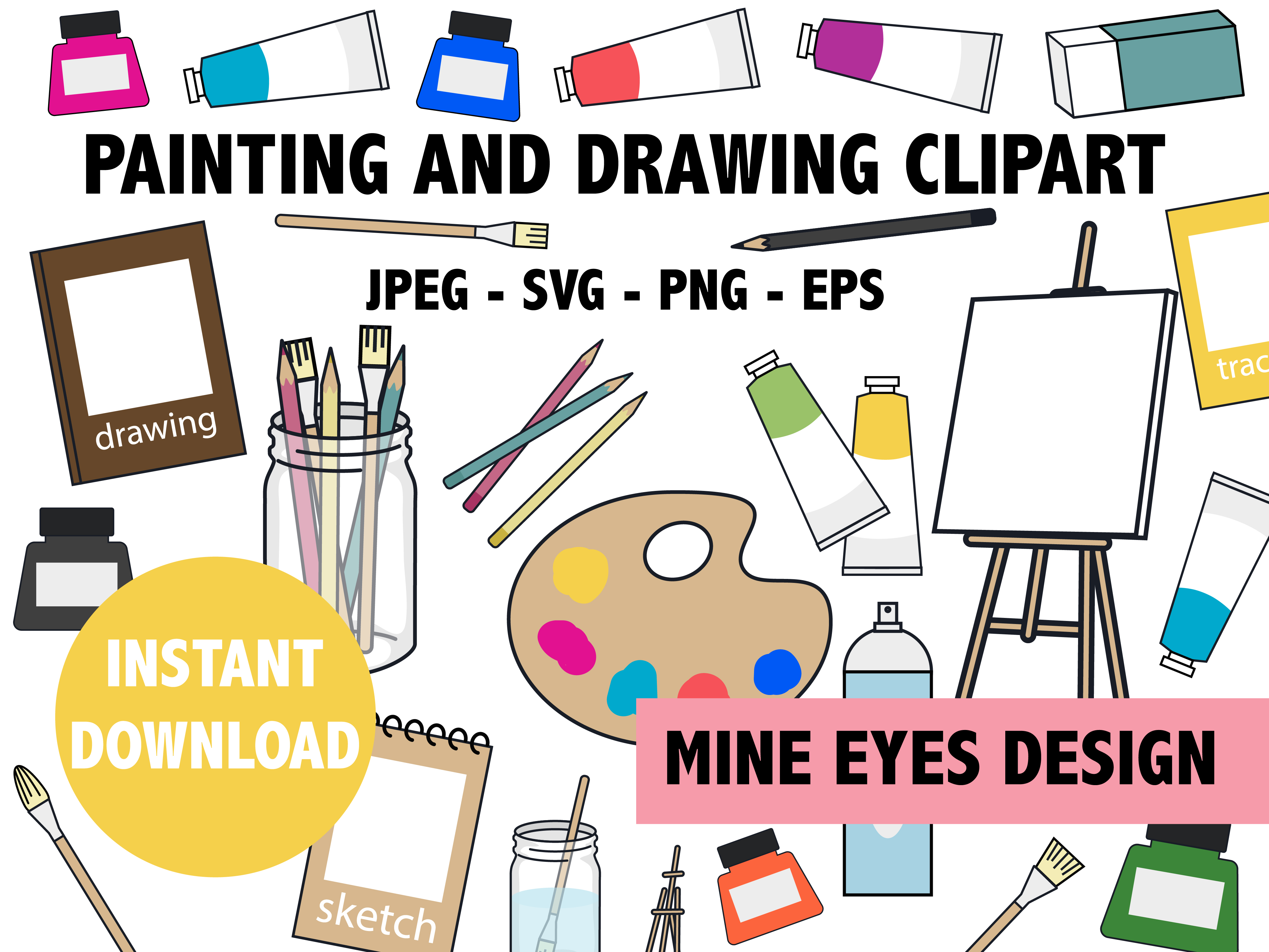 Download Free Painting And Drawing Clipart Graphic By Mine Eyes Design for Cricut Explore, Silhouette and other cutting machines.