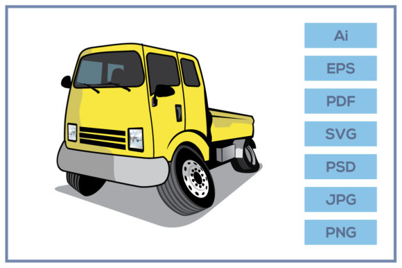 Print on Demand: Pickup Truck Cartoon Design Graphic Icons By leamsign