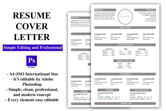 Download Free Resume Cv Template Graphic By Enway Creative Fabrica for Cricut Explore, Silhouette and other cutting machines.