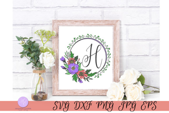 Download Free Script Letter H Monogram Graphic By Shannon Casper Creative for Cricut Explore, Silhouette and other cutting machines.