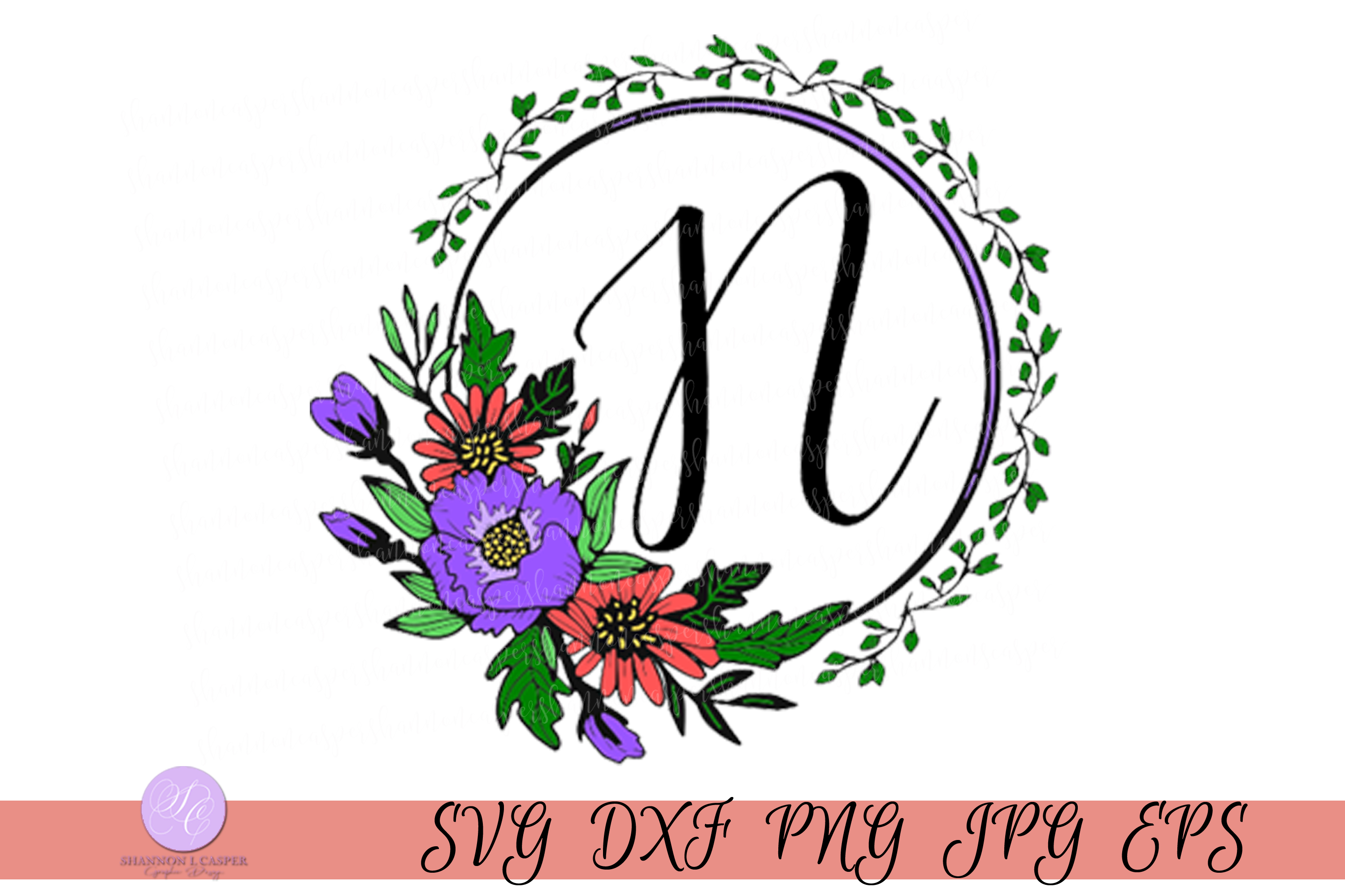 Download Free Script Letter N Monogram Graphic By Shannon Casper Creative for Cricut Explore, Silhouette and other cutting machines.