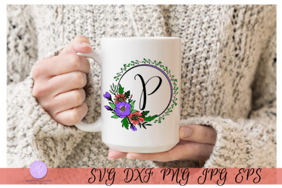 Download Free Script Letter P Monogram Graphic By Shannon Casper Creative for Cricut Explore, Silhouette and other cutting machines.