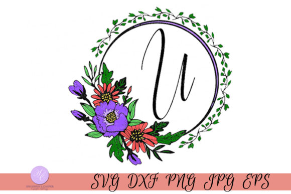 Download Free Script Letter U Monogram Graphic By Shannon Casper Creative for Cricut Explore, Silhouette and other cutting machines.