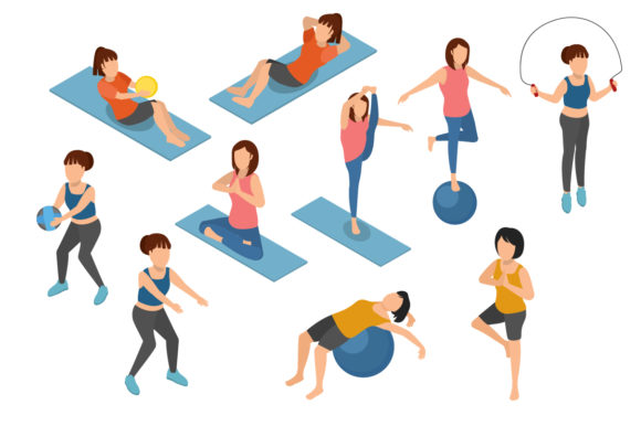 Download Free Set Of Yoga And Gymnastic On Isometric Graphic By Namela for Cricut Explore, Silhouette and other cutting machines.