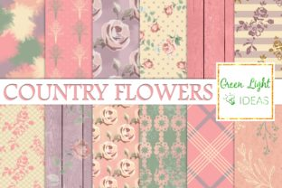 Shabby Country Flowers Digital Papers Graphic Backgrounds By GreenLightIdeas