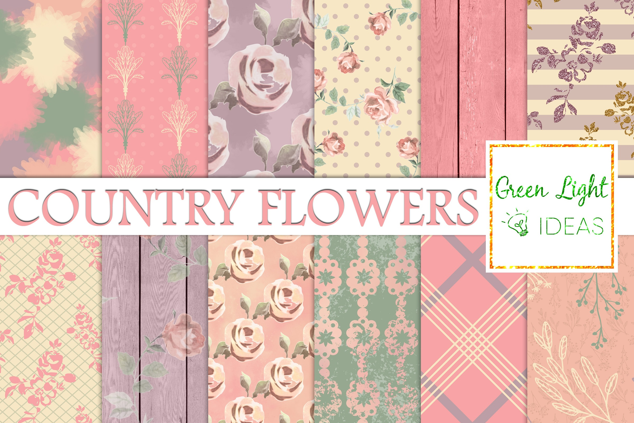 Download Free Shabby Country Flowers Digital Papers Graphic By Greenlightideas for Cricut Explore, Silhouette and other cutting machines.