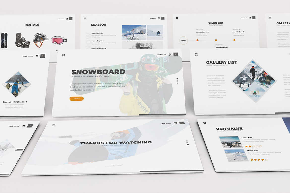 Download Free Snowboard Powerpoint Template Graphic By Formatikastd Creative for Cricut Explore, Silhouette and other cutting machines.