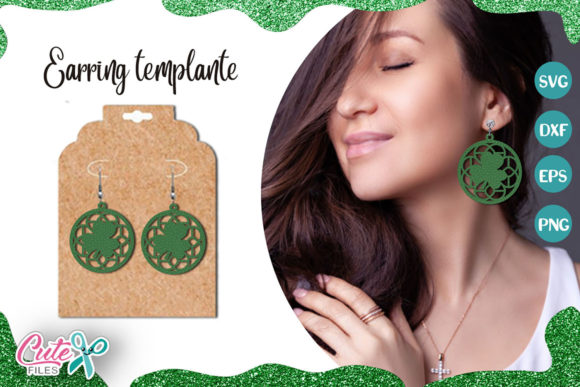 St. Patricks Circle Earrings Templante Graphic Illustrations By Cute files