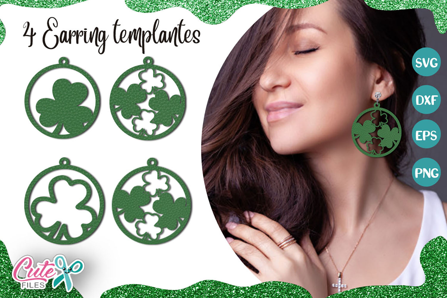 Download Free St Patricks Earrings Templante Graphic By Cute Files Creative for Cricut Explore, Silhouette and other cutting machines.